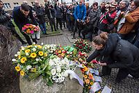 """Gedenken an Ehrenmord-Opfer Hatun Sueruecue in Berlin-Tempelhof am Dienstag den 7. Februar 2020.<br /> Die 21jaehrige Deutsch-Kurdin wurde am 7.2.2005 von ihrer Familie ermordet, weil sie sich nicht an die """"traditionellen Familienwerte"""" halten und ein selbsbestimmtes Leben fuehren wollte. Sie hat gegen den Willen Ihrer Familie ine Ausbildung zur Elektroinstallatoerin gemacht hat und mit ihrem unehelichen Kind.<br /> Der Mord wurde in Abstimmung mit der Familie von ihren Bruedern durchgefuehrt, als Taeter wurde der damals minderjaehriger Bruder vorgeschickt. Zwei Brueder fluechteten in die Tuerkei.<br /> Links im Bild: Martin Hikel (SPD), Bezirksbuergermeister von Neukoelln.<br /> 7.2.2020, Berlin<br /> Copyright: Christian-Ditsch.de<br /> [NUR FUER REDAKTIONELLE ZWECKE! Werbung nur auf Anfrage beim Fotografen. Inhaltsveraendernde Manipulation des Fotos nur nach ausdruecklicher Genehmigung des Fotografen. Vereinbarungen ueber Abtretung von Persoenlichkeitsrechten/Model Release der abgebildeten Person/Personen liegen nicht vor. NO MODEL RELEASE! Don't publish without copyright Christian-Ditsch.de, Veroeffentlichung nur mit Fotografennennung, sowie gegen Honorar, MwSt. und Beleg. Konto: I N G - D i B a, IBAN DE58500105175400192269, BIC INGDDEFFXXX, Kontakt: post@christian-ditsch.de<br /> Bei der Bearbeitung der Dateiinformationen darf die Urheberkennzeichnung in den EXIF- und  IPTC-Daten nicht entfernt werden, diese sind in digitalen Medien nach §95c UrhG rechtlich geschuetzt. Der Urhebervermerk wird gemaess §13 UrhG verlangt.]"""