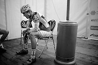 Tijl Pauwels (BEL/Lares-Doltcinin/U19) after the race, trying to catch his breath<br /> <br /> Zilvermeercross 2014