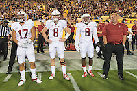 Tempe, AZ - October 18, 2014: The Stanford Cardinal vs Arizona State Sun Devils game at Sun Devil Stadium in Tempe, AZ. Final score, Stanford Cardinal 10, Arizona State Cougars 26