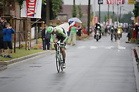 Lars Boom (NLD/Belkin) checks to see how far back his competitors are after leaving the last sector of pavé<br /> <br /> 2014 Tour de France<br /> stage 5: Ypres/Ieper (BEL) - Arenberg Porte du Hainaut (155km)