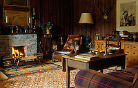 Soft furnishings bring colour and pattern into this simple wood-panelled living room