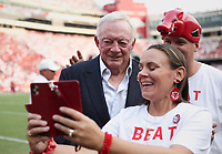 Arkansas fans take a picture with Dallas Cowboys owner Jerry Jones, Saturday, September 11, 2021 during a football game at Reynolds Razorback Stadium in Fayetteville. Check out nwaonline.com/210912Daily/ for today's photo gallery. <br /> (NWA Democrat-Gazette/Charlie Kaijo)