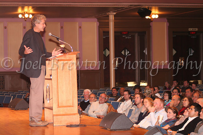 Author and economicist John Perkins speaks at Soldiers and Sailors War Memorial about how the struggling economy is forcing people to come together with a common crisis, October 2010