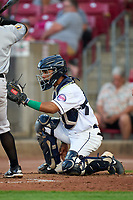 Cedar Rapids Kernels catcher Jeferson Morales (13) during a game against the Wisconsin Timber Rattlers on August 17, 2021 at Perfect Game Field in Cedar Rapids, Iowa.  (Mike Janes/Four Seam Images)