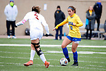 BROOKINGS, SD - MARCH 14: Maya Hansen #13 from South Dakota State looks to make a move against Alex Nillen #3 from Denver during their match at Dana J. Dykhouse Stadium on March 14, 2021 in Brookings, South Dakota. (Photo by Dave Eggen/Inertia)