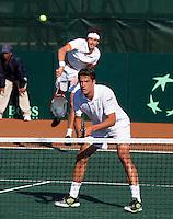 09-07-11, Tennis, South-Afrika, Potchefstroom, Daviscup South-Afrika vs Netherlands, Dubbel Robin Haase en Jesse Huta Galung(voorgrond)