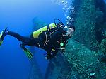 Orchid Island, Taiwan -- Diver approaching the Ba Dai ship wreck.