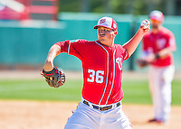 28 February 2016: Washington Nationals pitcher Sammy Solis on the mound during an inter-squad pre-season Spring Training game at Space Coast Stadium in Viera, Florida. Mandatory Credit: Ed Wolfstein Photo *** RAW (NEF) Image File Available ***