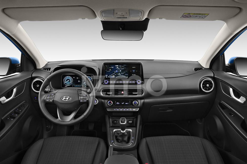 Stock photo of straight dashboard view of 2021 Hyundai Kona Techno 5 Door SUV Dashboard