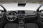 Stock photo of straight dashboard view of 2021 Hyundai Kona Techno 5 Door SUV Dashboard