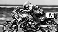 Mike Baldwin, #1F Yamaha, Daytona 200, AMA Superbikes, Daytona International Speedway, Daytona Beach, FL, March 9, 1986.(Photo by Brian Cleary/bcpix.com)