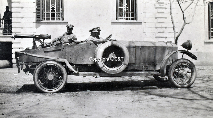BNPS.co.uk (01202 558833)<br /> Pic: C&T/BNPS<br /> <br /> The RNAS were equipped with lightly armoured cars mounted with a Vickers machine gun - state of the art weapons in 1916.<br /> <br /> Never before seen photos of the disastrous Gallipoli campaign have come to light over a century later.<br /> <br /> The fascinating snaps were taken by Sub Lieutenant Gilbert Speight who served in the Royal Naval Air Service in World War One.<br /> <br /> They feature in his photo album which covers his eventful war, including a later stint in Egypt.<br /> <br /> There are dramatic photos of the Allies landing at X Beach, as well as sobering images of a mass funeral following the death of 17 Brits. Another harrowing image shows bodies lined up in a mass grave.<br /> <br /> The album, which also shows troops during rare moments of relaxation away from the heat of battle, has emerged for sale with C & T Auctions, of Ashford, Kent. It is expected to fetch £1,500.