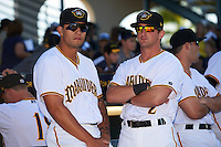 Bradenton Marauders Trace Tam Sing (3) and Jeff Roy (2) before a game against the Fort Myers Miracle on April 9, 2016 at McKechnie Field in Bradenton, Florida.  Fort Myers defeated Bradenton 5-1.  (Mike Janes/Four Seam Images)