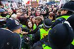 © Joel Goodman - 07973 332324 . 05/05/2012 .  Luton , UK . Crowds push at police lines at the front of the march . Approximately 1,500 people take part in an EDL ( English Defence League ) march in Luton , understood to have been policed by over 1,000 officers . Photo credit: Joel Goodman
