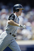 Steve Finley of the Arizona Diamondbacks runs the bases during a 2002 MLB season game against the Los Angeles Dodgers at Dodger Stadium, in Los Angeles, California. (Larry Goren/Four Seam Images)