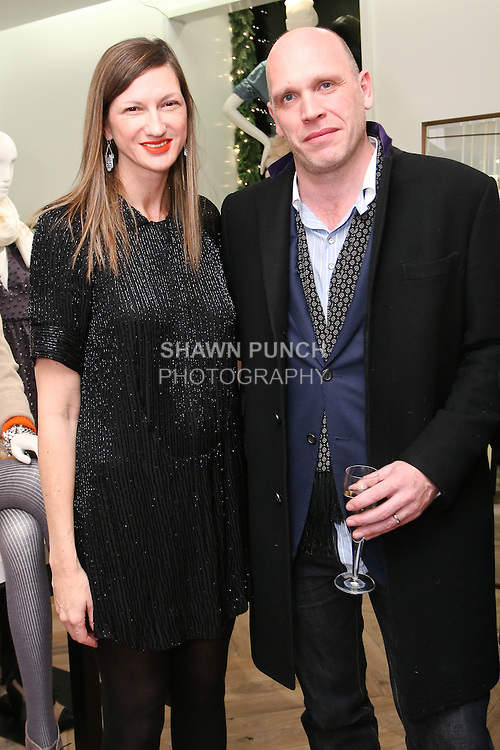 Jenna Lyon, President and Executive Creative Director at J. Crew (l) poses with guest at the Lulu Frost Jewelry for J. Crew launch party, at J. Crew 1035 Madison Avenue, December 9, 2010.