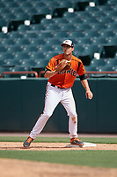 Bowie Baysox first baseman Ryan Ripken (22) waits for a throw during an Eastern League game against the Binghamton Rumble Ponies on August 21, 2019 at Prince George's Stadium in Bowie, Maryland.  Bowie defeated Binghamton 7-6 in ten innings.  (Mike Janes/Four Seam Images)
