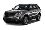 2019 Ford Explorer Sport 5 Door SUV angular front stock photos of front three quarter view