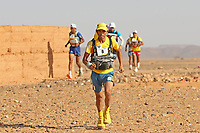 4th October 2021; Tisserdimine to Kourci Dial Zaid;  Marathon des Sables, stage 2 of  a six-day, 251 km ultramarathon, which is approximately the distance of six regular marathons. The longest single stage is 91 km long. This multiday race is held every year in southern Morocco, in the Sahara Desert. Hammou Madouji (MOR)