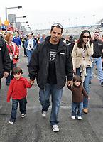 DAYTONA BEACH, FL - JANUARY 26,2008:  Driver Juan Pablo Montoya Roldán with his kids at the the Rolex 24 of Daytona at Daytona International Speedway January 26, 2008 in Daytona Beach, Florida <br /> <br /> People:  Juan Pablo Montoya Roldán