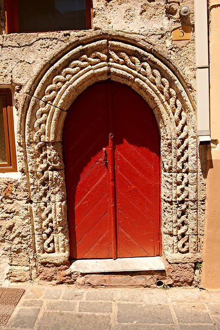 Medieval doorway in Rhodes, Greece. UNESCO World Heritage Site
