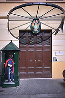 The gendarmes' barracks.The Vatican's gendarme corps  of Vatican City State (Italian: Corpo della Gendarmeria dello Stato della Città del Vaticano) is the gendarmerie, or police and security force, of Vatican City and the extraterritorial properties of the Holy See.<br /> The 130-member corps is led by an Inspector General, currently Domenico Giani,The corps is responsible for security, public order, border control, traffic control, criminal investigation, and other general police duties in Vatican City.2019