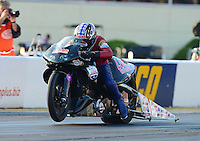 Oct. 5, 2012; Mohnton, PA, USA: NHRA pro stock motorcycle rider Hector Arana Sr during qualifying for the Auto Plus Nationals at Maple Grove Raceway. Mandatory Credit: Mark J. Rebilas-