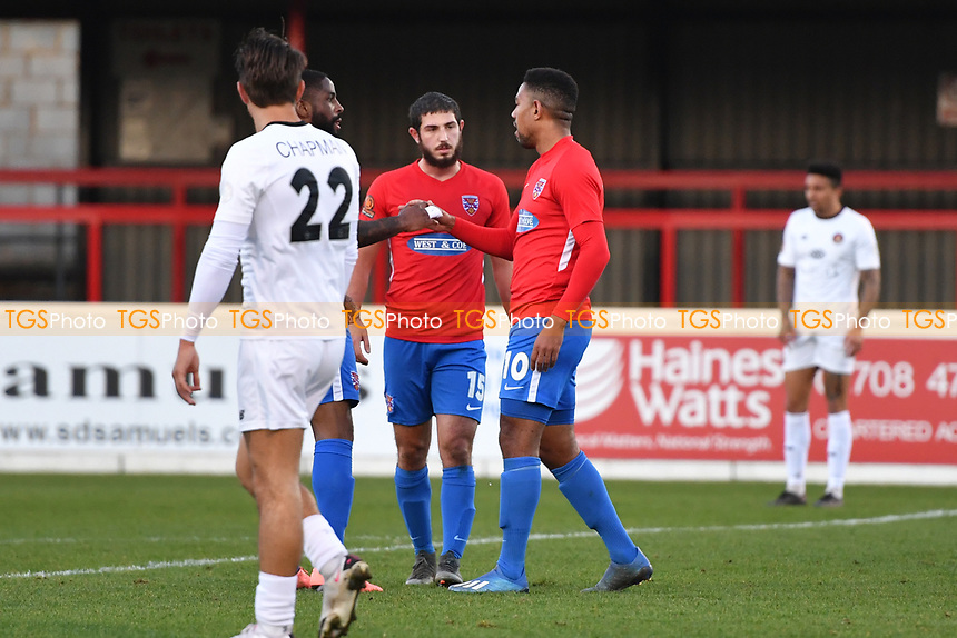 Angelo Balanta of Dagenham and Redbridge FC scores the second Goal and celebrates during Dagenham & Redbridge vs Ebbsfleet United, Buildbase FA Trophy Football at the Chigwell Construction Stadium on 19th December 2020