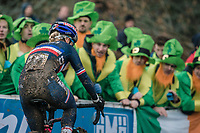 Pauline Ferrand-Prevot (FRA/Canyon-SRAM) cheered on by some green Irish fans.<br /> <br /> Women Elite Race<br /> UCI CX Worlds 2018<br /> Valkenburg - The Netherlands