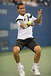 Mikhail Youzhny (RUS) loses to Novak Djokovic (SRB)  6-3, 6-2, 3-6, 6-0 at the US Open being played at USTA Billie Jean King National Tennis Center in Flushing, NY on September 5, 2013