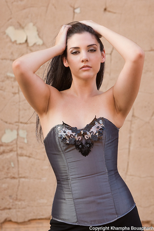 Lisa Joshi models a line of corsets in Fort Worth for Taylor Lane Designs on July 20, 2010, 2010.  (photo by Khampha Bouaphanh)