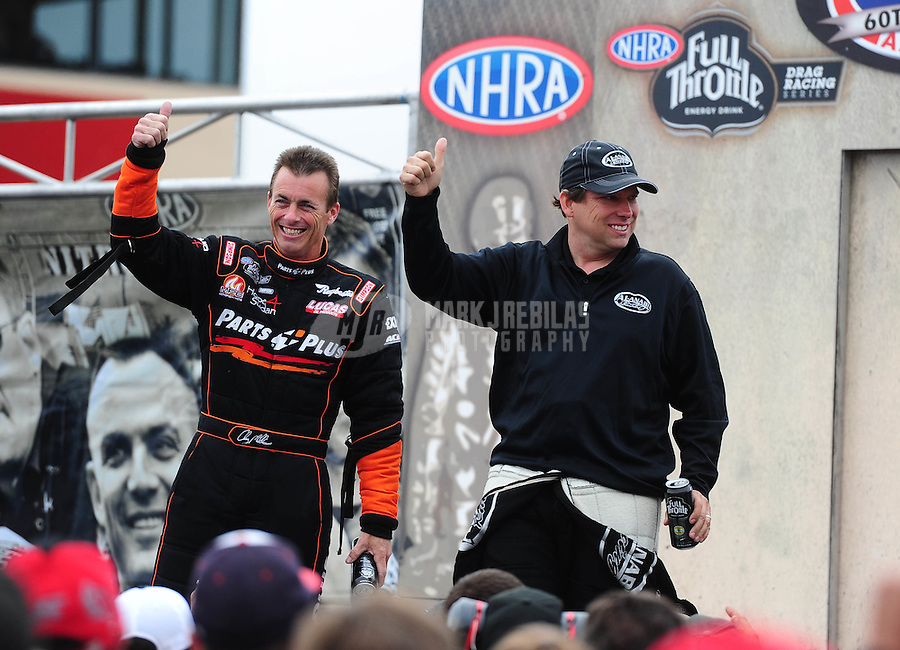 Jul. 31, 2011; Sonoma, CA, USA; NHRA top fuel dragster driver Clay Millican (left) and Del Worsham during the Fram Autolite Nationals at Infineon Raceway. Mandatory Credit: Mark J. Rebilas-