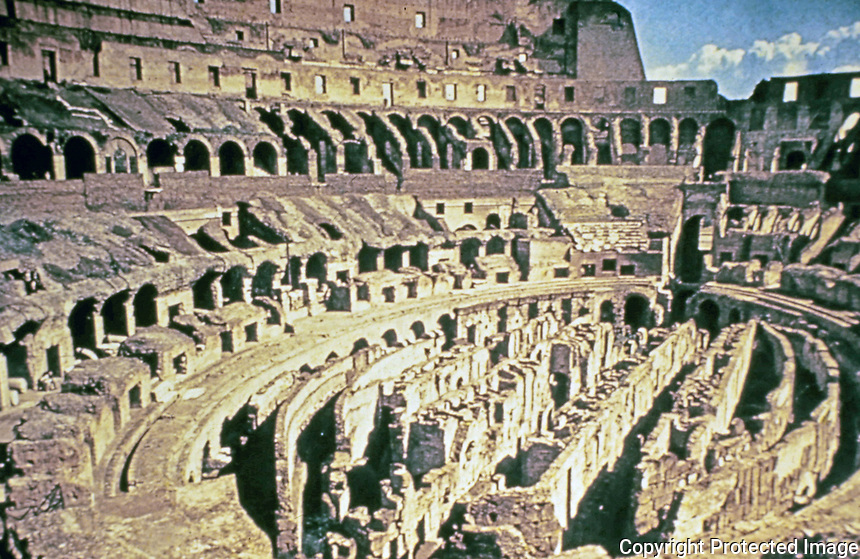 Interior view of the Colosseum arena, Rome Italy