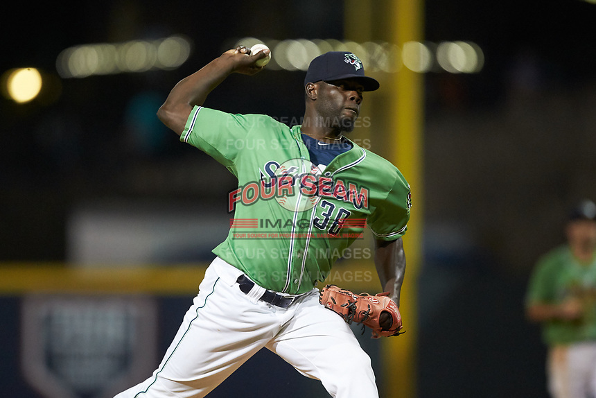 Gwinnett Stripers relief pitcher Jose Rafael De Paula (38) in action against the Scranton/Wilkes-Barre RailRiders at Coolray Field on August 16, 2019 in Lawrenceville, Georgia. The Stripers defeated the RailRiders 5-2. (Brian Westerholt/Four Seam Images)