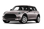 Stock pictures of low aggressive front three quarter view of a 2019 Mini MINI One 3 Door Hatchback