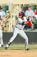 Carlos Franco (11) of the Rome Braves at bat against the Kannapolis Intimidators at CMC-Northeast Stadium on August 25, 2013 in Kannapolis, North Carolina.  The Intimidators defeated the Braves 9-0.  (Brian Westerholt/Four Seam Images)