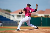 Pensacola Blue Wahoos pitcher Edwar Colina (26) during a Southern League game against the Mobile BayBears on July 25, 2019 at Blue Wahoos Stadium in Pensacola, Florida.  Pensacola defeated Mobile 2-1 in the first game of a doubleheader.  (Mike Janes/Four Seam Images)
