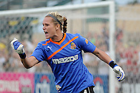Western New York Flash goalkeeper Ashlyn Harris (24) celebrates after making the game winning save during the penalty kick shootout. The Western New York Flash defeated the Philadelphia Independence 5-4 in a penalty kick shootout after playing to a 1-1 tie during the Women's Professional Soccer (WPS) Championship presented by Citi at Sahlen's Stadium in Rochester NY, on August 27, 2011.
