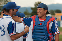 25 july 2010: Boris Marche of France congratulates closer Pierrick Le Mestre during France 6-1 victory over Czech Republic, in day 3 of the 2010 European Championship Seniors, in Neuenburg, Germany.