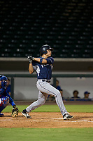 AZL Padres center fielder Tirso Ornelas (33) follows through on his swing against the AZL Cubs on August 28, 2017 at Sloan Park in Mesa, Arizona. AZL Cubs defeated the AZL Padres 2 9-4. (Zachary Lucy/Four Seam Images)