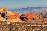 Red Rock Canyon, Nevada.  Calico Hills, Aztec Sandstone, Las Vegas in the Distance.