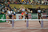 26th August 2021; Lausanne, Switzerland;  Diamond League Lausanne  400m hurdles for women Femke Bol Netherlands wins the race