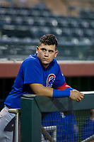 AZL Cubs first baseman Luis Hidalgo (18) takes a moment to himself before Game Three of the Arizona League Championship Series against the AZL Giants on September 7, 2017 at Scottsdale Stadium in Scottsdale, Arizona. AZL Cubs defeated the AZL Giants 13-3 to win the series two games to one. (Zachary Lucy/Four Seam Images)