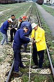 Sarajevo, Bosnia and Herzegovina. Workers checking the railway track.