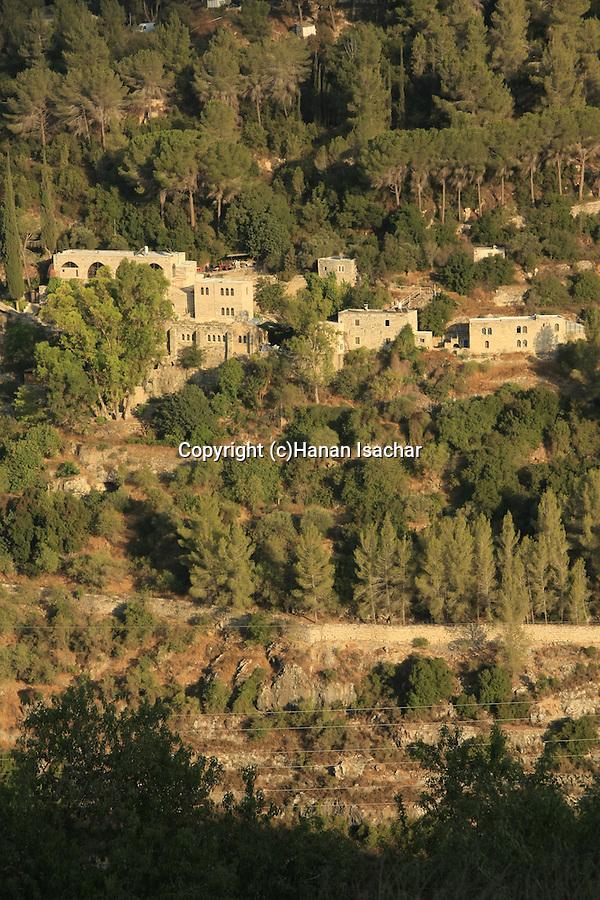Israel, Jerusalem Mountains, St. John in the Desert monastery as seen from Sataf