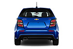 Straight rear view of 2019 Chevrolet Sonic LT-RS-Automatic Door Hatchback Rear View  stock images