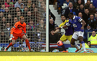 Pictured L-R: Gerhard Tremmel of Swansea is preparing and team mate Jordi Amat is challenging Sylvain Distin of Everton who is about to take a shot. Sunday 16 February 2014<br /> Re: FA Cup, Everton v Swansea City FC at Goodison Park, Liverpool, UK.