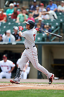 Pawtucket Red Sox designated hitter Garin Cecchini (7) at bat during a game against the Rochester Red Wings on July 1, 2015 at Frontier Field in Rochester, New York.  Rochester defeated Pawtucket 8-4.  (Mike Janes/Four Seam Images)
