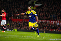 Sunday 05 January 2014<br /> Pictured:Wayne Routledge celebrates after scoring against Man Utd <br /> Re: Manchester Utd FC v Swansea City FA cup third round match at Old Trafford, Manchester