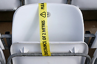 Social distancing tape on the seats during Nottinghamshire CCC vs Essex CCC, LV Insurance County Championship Group 1 Cricket at Trent Bridge on 9th May 2021